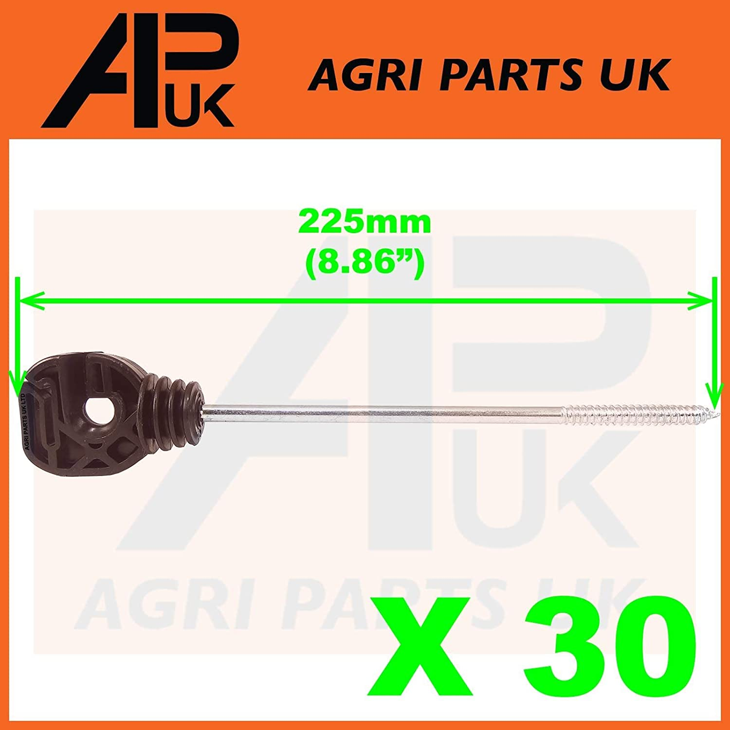 APUK 30 x Electric Fence Long Multi Purpose Screw Insulators Ring Tape Wire Rope Poly Agri Parts UK Ltd