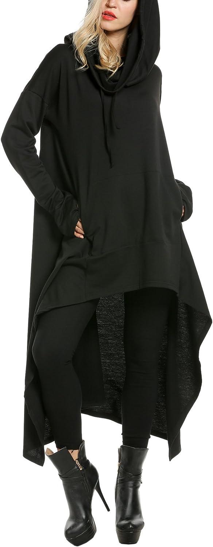 Zeagoo Womens High Low String Hoodie Tunic Sweatshirts with Pocket,Black,XX-Large 71HtYznByJL