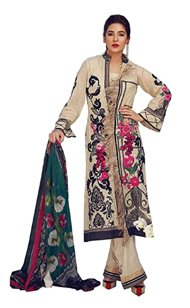 f615752a35 Madeesh Pakistani Suit for Women, Pure Cotton Paki Style Printed Top, Semi  Lawn Bottom