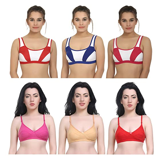 e7bf9ed210403 New Care Cotton Full Coverage Push Up   Sports Bra for Women (Pack ...