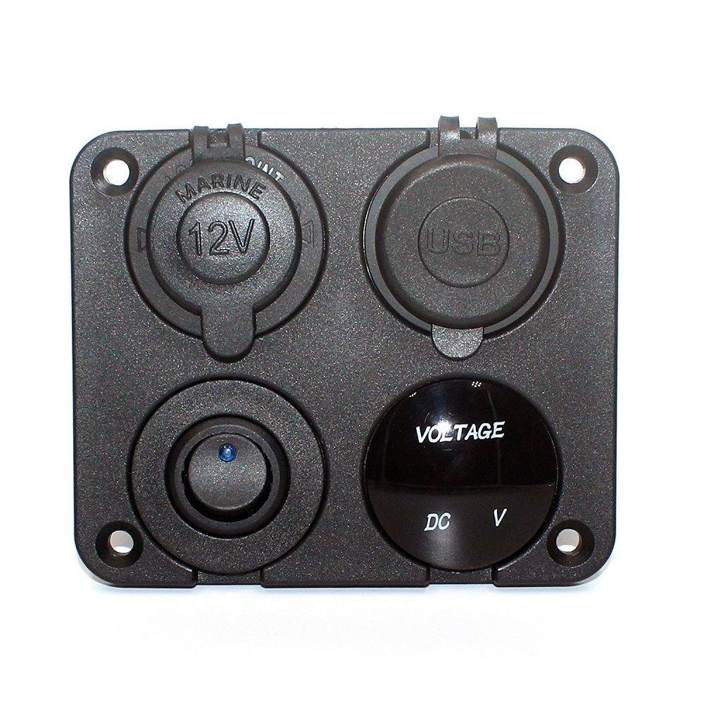 Bestlymood Panel de 4 Funciones Cargador Dual USB Interruptor de Encendido//Apagado Toma de Corriente 12V voltio LED Verde