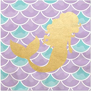 Big Dot of Happiness Let's Be Mermaids with Gold Foil - Baby Shower or Birthday Party Luncheon Napkins (16 Count)