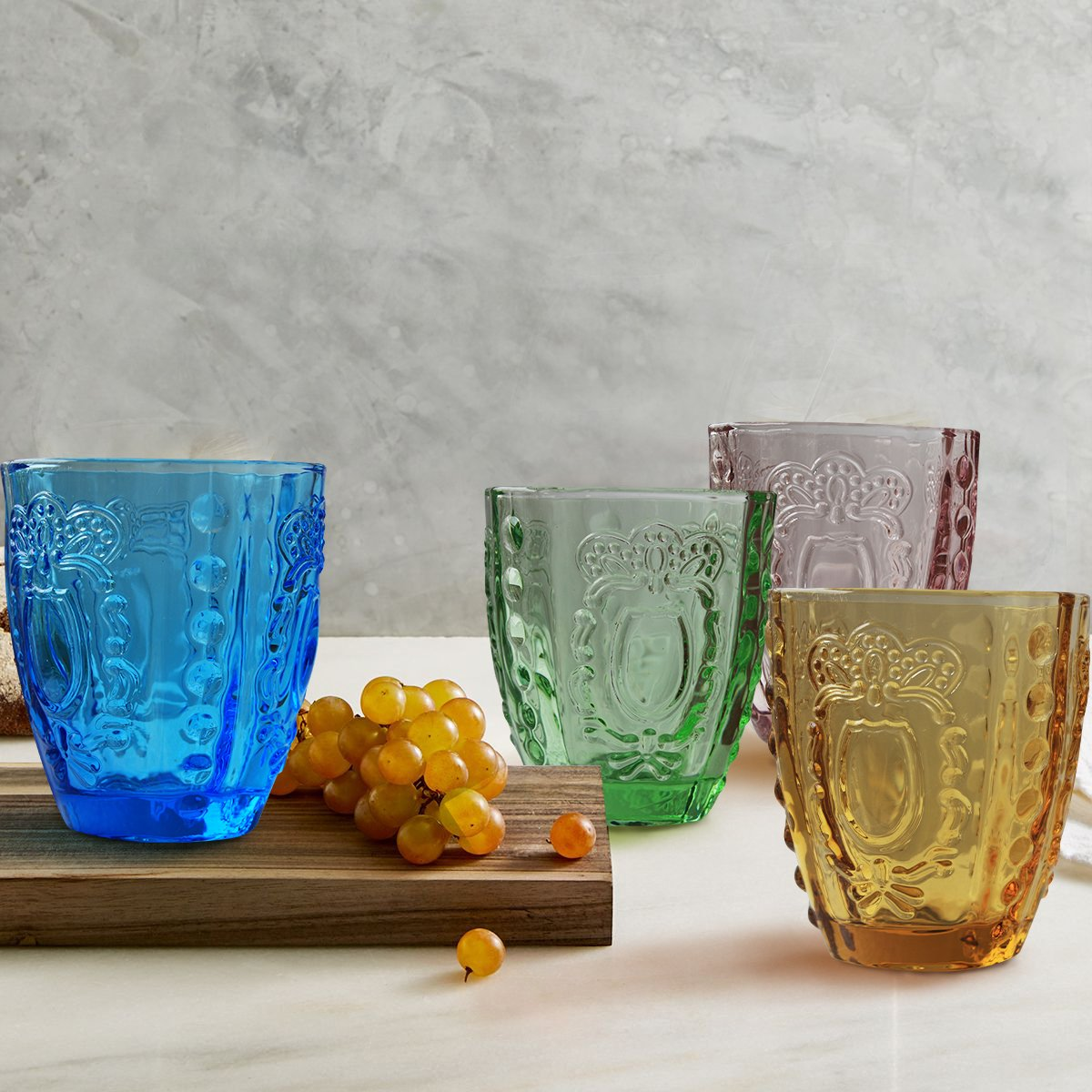 Drinking Glasses 4Pcs, Colored Premium Heavy Glassware, 12oz Multicolor Glass Tumbler Gift for