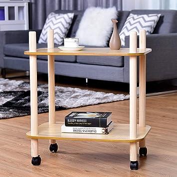 Amazon.com: Ana1store - Mesa de madera con ruedas para beber ...