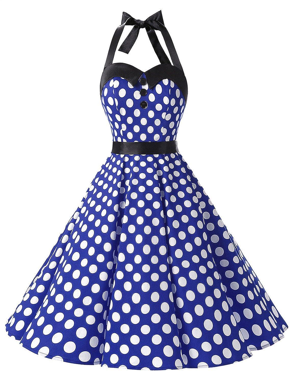 TALLA M. Dressystar Vestidos Corto Cuello Halter Estampado Flores y Lunares Vintage Retro Fiesta 50s 60s Rockabilly Mujer Royal Blue White Dot