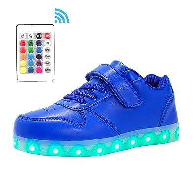 Voovix Kinder Litch Schuhe Blinkende Sneaker Led Leuchtende High-top USB Aufladen Shoes für Jungen und Mädchen(Weiß,EU37)