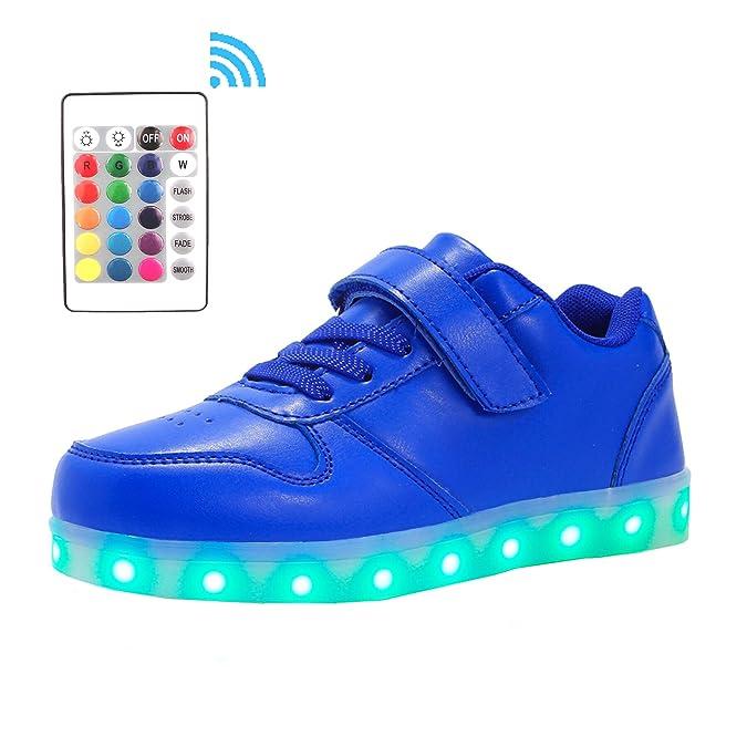 Voovix Kinder Litch Schuhe Blinkende Sneaker Led Leuchtende High-top USB Aufladen Shoes für Jungen und Mädchen(Blau,EU30)
