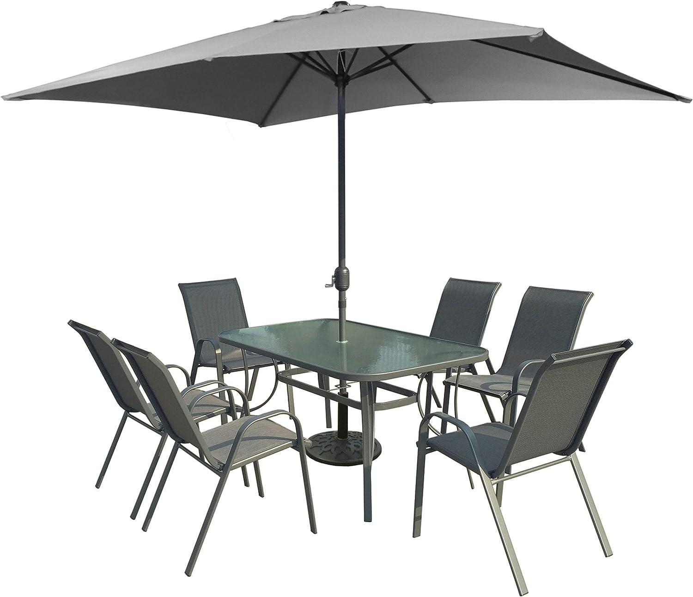 Xone Set Riccione con ombrellone, Tavolo e 6 sedie in Acciaio e textilene 2x1 | Set Giardino con ombrellone 2x3 in Poliestere