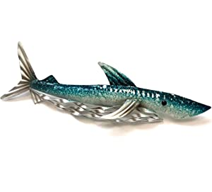SDL Imports Shore and More Gifts Shark Blue Small Metal Wall Art for Indoor or Outdoor use - Sea Life Nautical Plaque