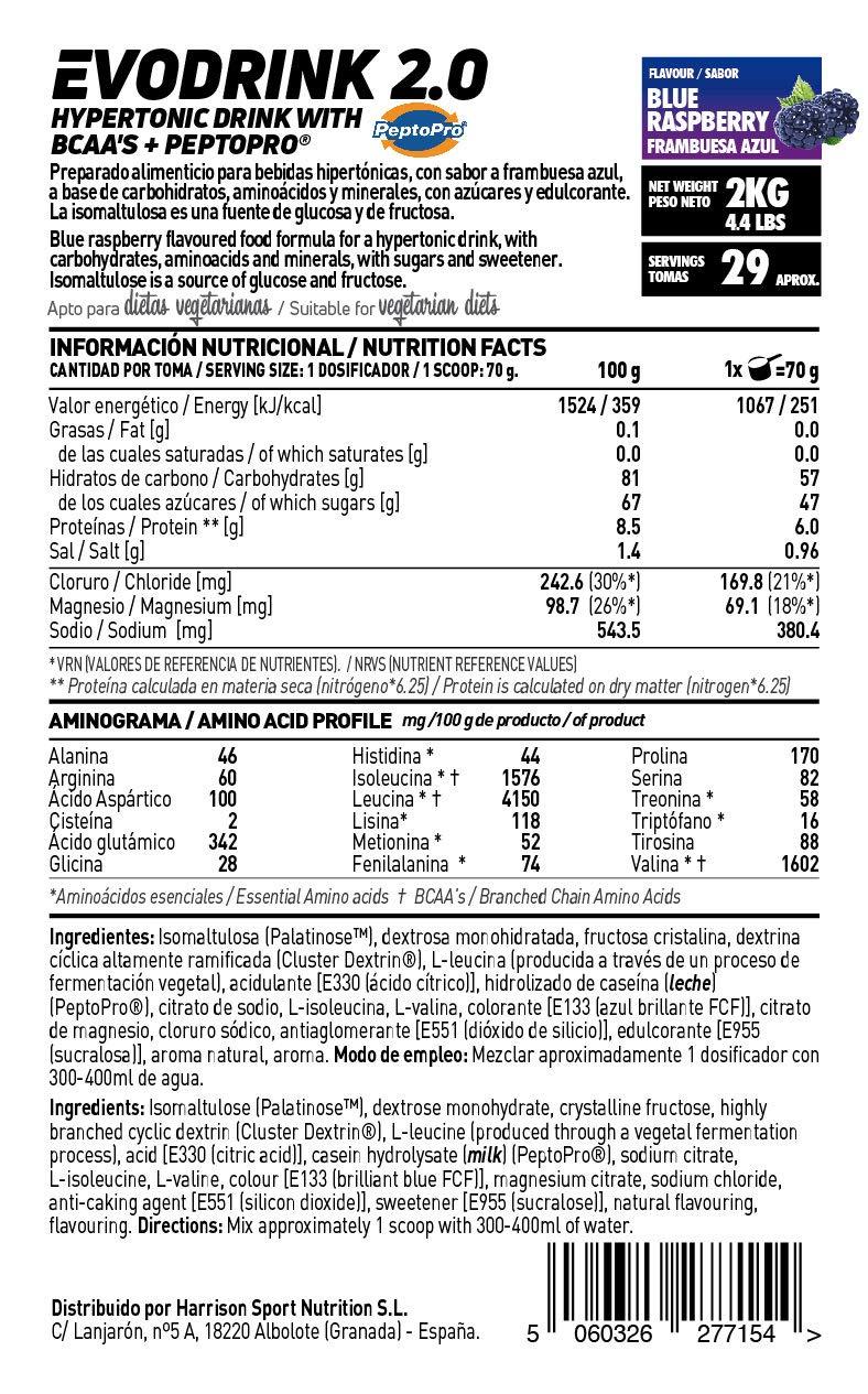Bebida Isotónica en Polvo con Carbohidratos + Peptopro + BCAAs + Electrolitos de HSN Sports | Evodrink 2.0 | Para Deportistas | Apto para Vegetarianos, ...