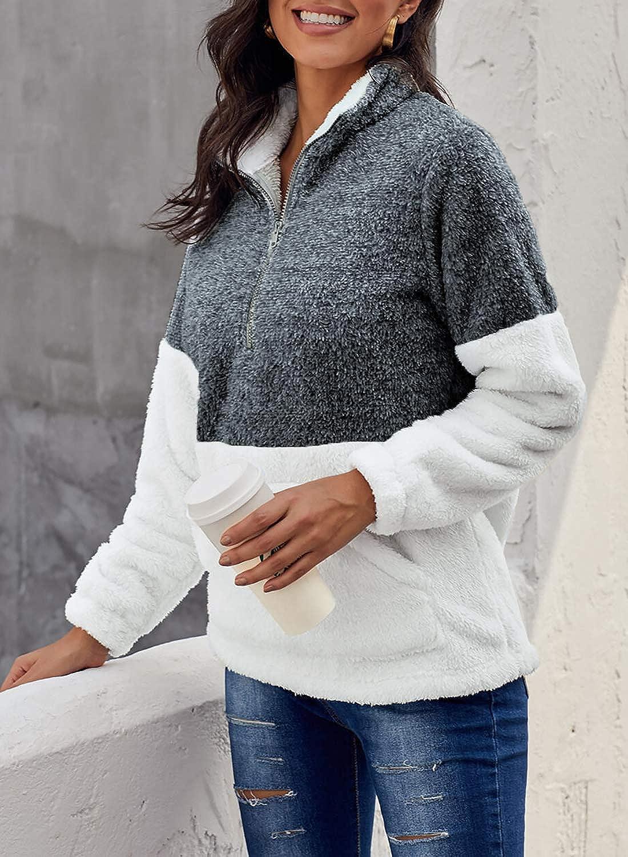 GOSOPIN Women Oversize Fleece Pullover Coat Fluffy Sweatshirt Outwear with Pocket