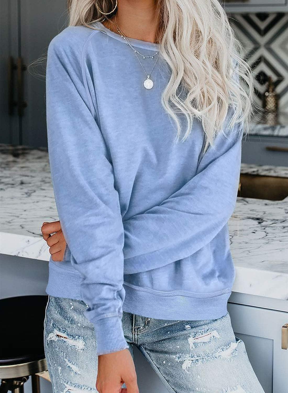 Biucly Womens Casual Loose Crewneck Long Sleeve Sweatshirts Solid Soft Thin Pullover Blouses Shirt Tops