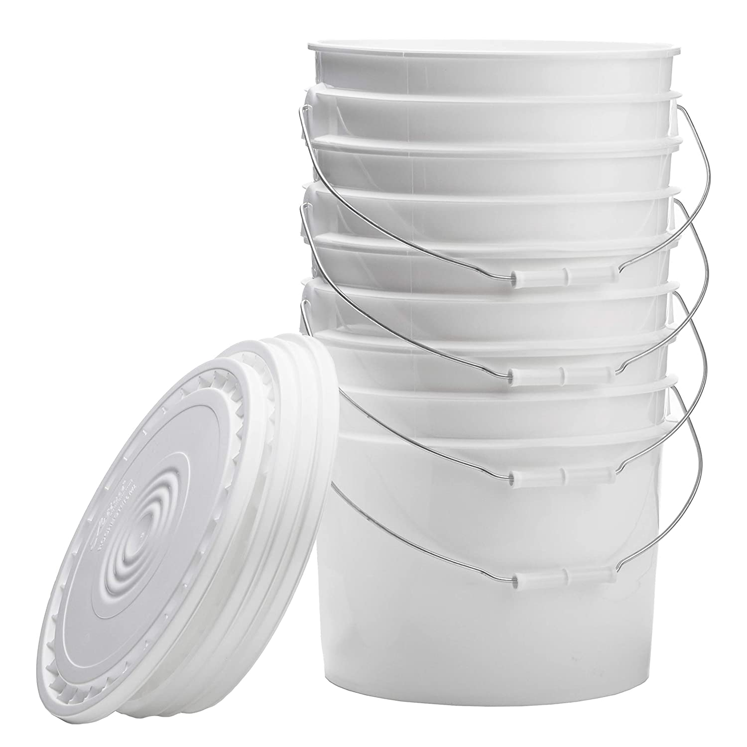 Hudson Exchange Premium 3.5 Gallon Bucket with Lid, 4 Pack, White