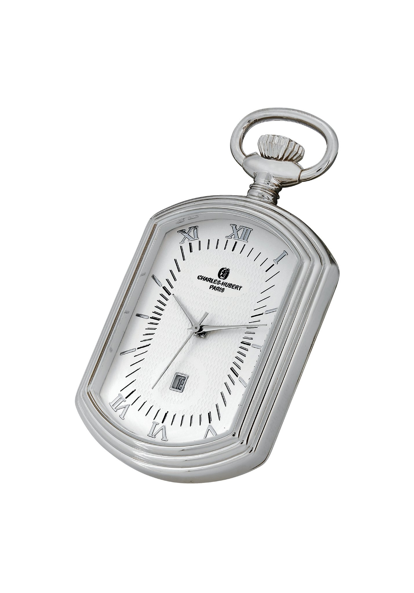 Roy Rose Jewelry Charles Hubert Rectangle Shape Pocket Watch Classic Collection Quartz Movement with Chain