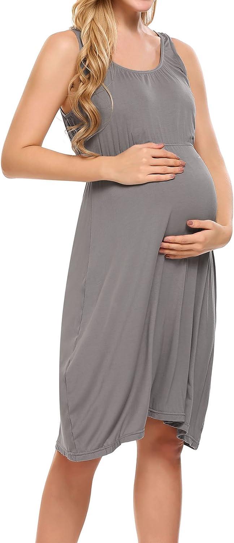 Hotouch Damen Umstandskleid Umstandsmoden Schwangerschaftskleider Maternity Kleid Brautkleid Jerseykleid Sommer Kleid /Ärmellos