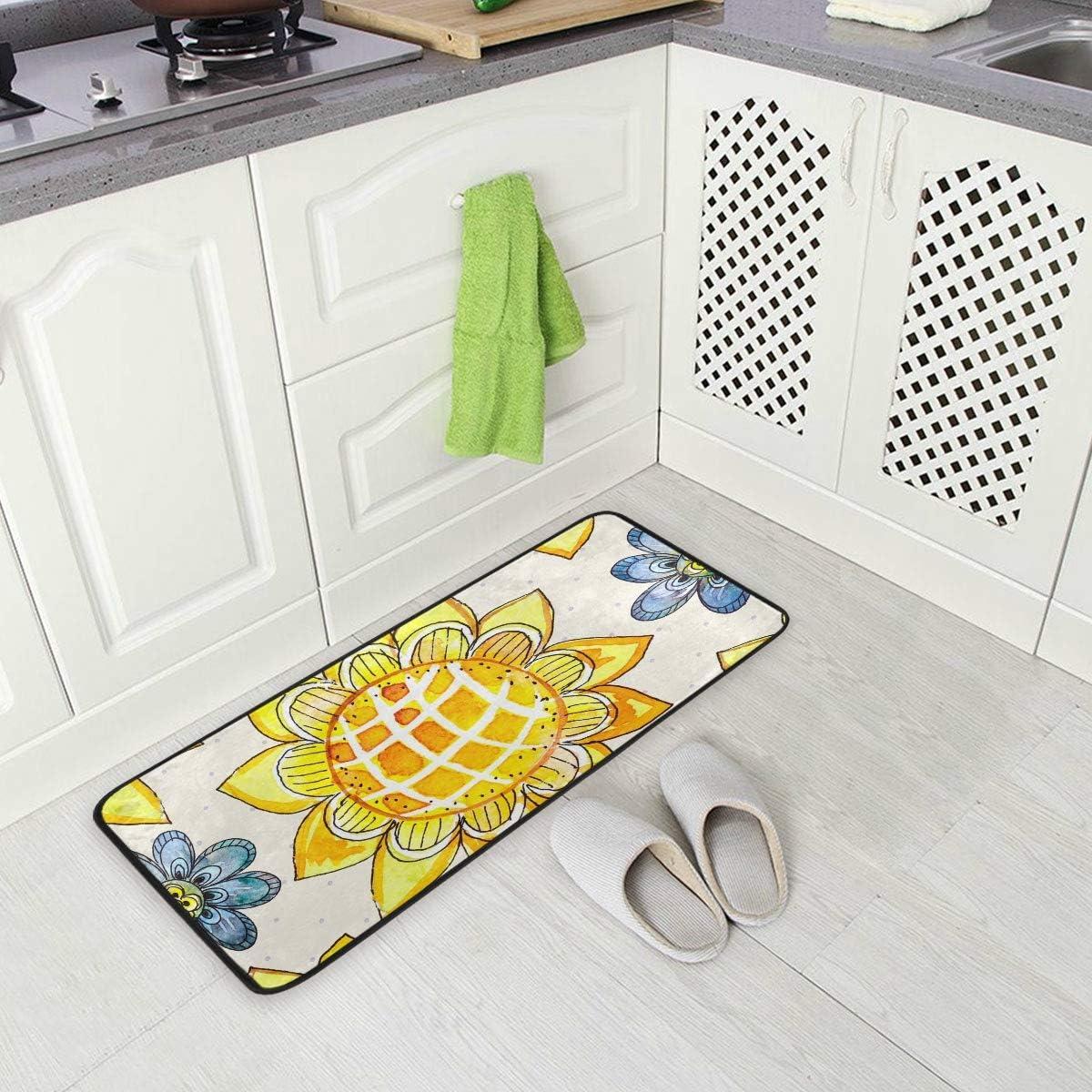 Amazon Com Kitchen Rugs Sunflower Cartoon Design Non Slip Soft Kitchen Mats Bath Rug Runner Doormats Carpet For Home Decor 39 X 20 Kitchen Dining