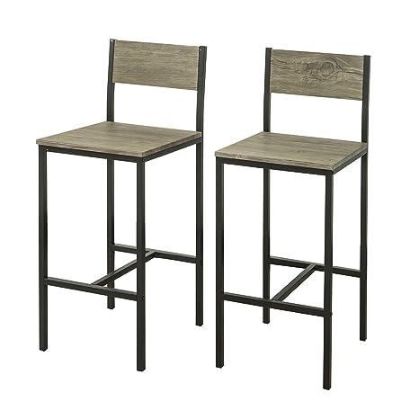 SoBuy® 2 x Sedie Metallo da Bar Sgabelli Cucina mobili da Balcone ...