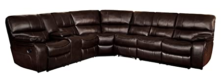 Homelegance Pecos 105 x 117 Leather Gel Manual Reclining Sectional Sofa, Brown
