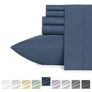 California Design Den 400-Thread-Count King Size Cotton Sheets - Indigo Batik 6 Piece Bedding Set, Luxury Finish Sateen Weave, Wrinkle Resistant Sheet Set, Deep Pocket Fits Mattress Upto 18 Inches