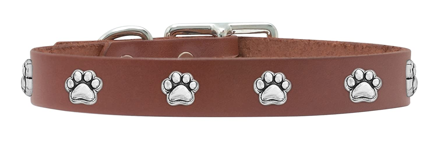 Rockin' doggie Paw Rivet Veg Leather Dog Collar, 3 4 by 18-Inch, Brown