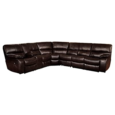 Homelegance Pecos 4-Piece Reclining Sectional Sofa Leather Gel Match, Brown