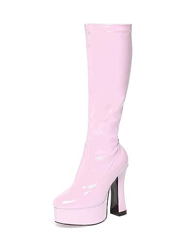 da55a961bea Pink Gogo Boots - Pink Patent Knee High Platform Boots (3)