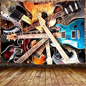 """Music Tapestry, Guitar Musical Tapestry Wall Hanging for Bedroom, Instrument Rock Style Lover Tapestry Home Decor (71"""" W X 60"""" H)"""