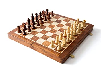 ITOS365 Folding Magnetic Travel Chess Board Set Wooden Game Handmade, Classic Game of Brilliance, Small Chess Pieces, 12 Inches