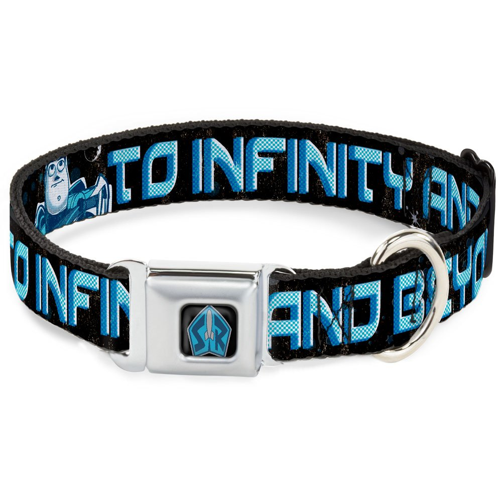 Buckle-Down Seatbelt Buckle Dog Collar Buzz Poses Stars to Infinity and Beyond Black bluees 1  Wide Fits 9-15  Neck Small