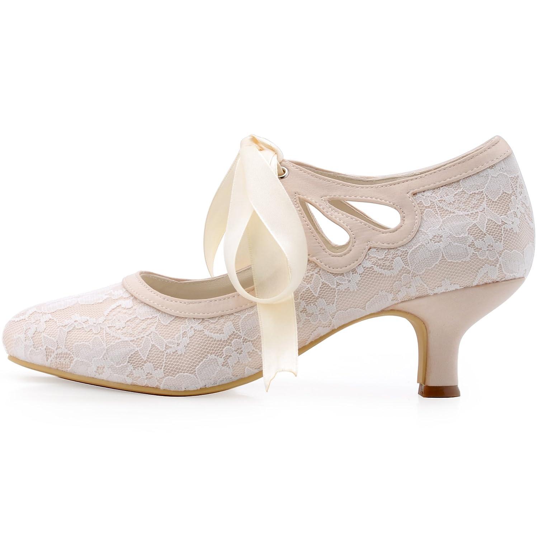 ElegantPark Closed HC1521 Women's Mary Jane Closed ElegantPark Toe Low Heel Pumps Lace Wedding Dress Shoes B011NW1GUQ 5 B(M) US (true fitting 6 US) Cut-out Champagne 67d050