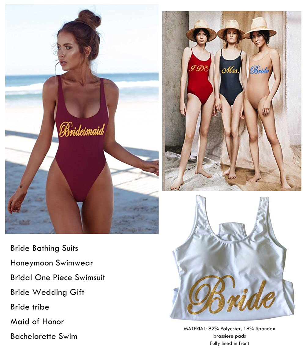 88b4e300ab4c5 PROGULOVER Women's Swimsuit Bride Tribe Bathing Suits Honeymoon Swimwear  Bride Wedding Party Bridesmaid Gift at Amazon Women's Clothing store: