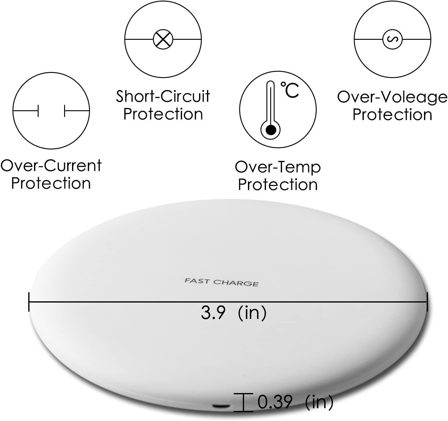 10W Standard Qi-Certified Ultra Slim White Wireless Charger for iPhone X//8//8 Plus Fast Wireless Charging Pad for Galaxy S9 //S8 //Note 8