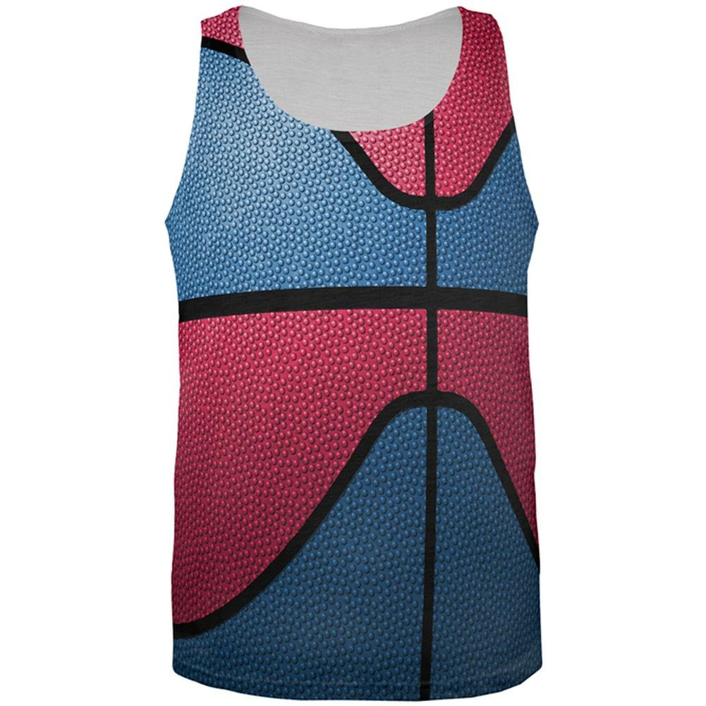 Old Glory Championship Basketball Blue and Red All Over Mens Tank Top