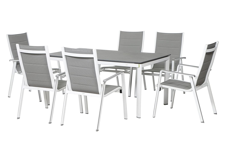 MWH Futosa Sitzgruppe, arctic weiß/hellgrau, Alu/Textil, 6 ...
