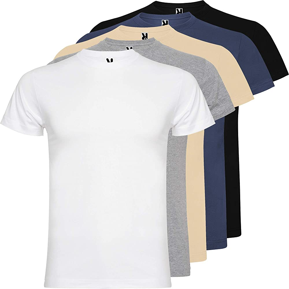 Camiseta Hombre | Pack 5 | Manga Corta | 100% Algodón Peinado | 180g/m2 | Cuello Redondo (Combinación 1, S): Amazon.es: Ropa y accesorios