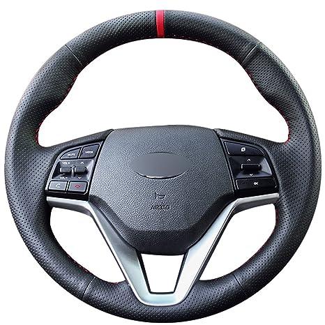 mewant personalizado negro de piel funda para volante de coche para Hyundai Tucson 2015 2016