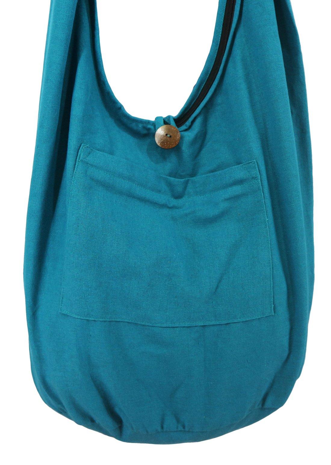Lovely Creations's Thai Monk Buddha Cotton Sling Crossbody Messenger Bag Purse Hippie Hobo Shoulder Bag (Solid Ocean blue)
