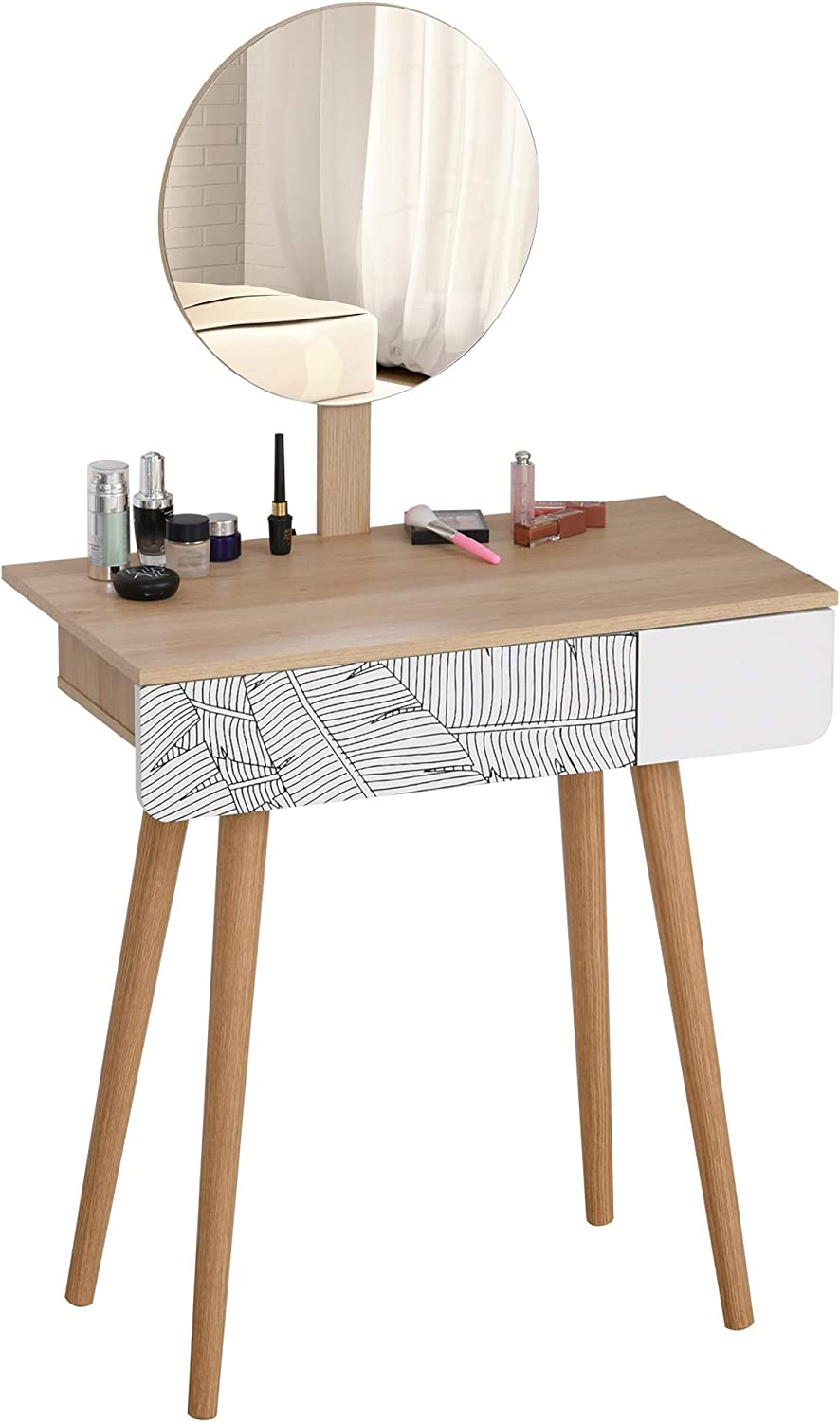 HOMCOM Vanity Table Round Mirror, with One Drawer Makeup Organizer Dressing  Table for Girls Dining Bedroom Use, Oak