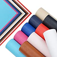 10 Pieces A4 Size Solid Color 1.2MM Thickness Litchi Grain Texture Synthetic Faux Leather Fabric Sheets Cotton Back for…
