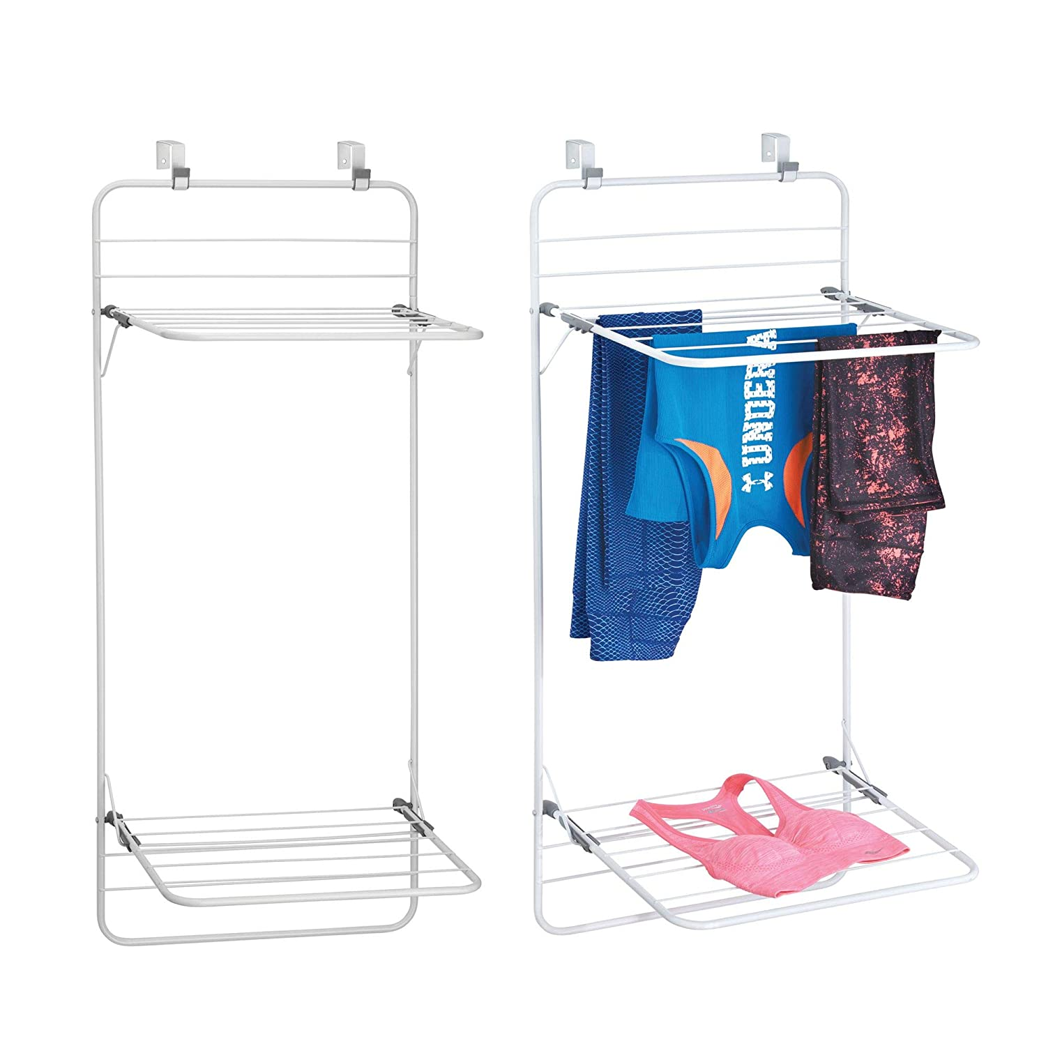 Amazoncom Mdesign Over Door Space Saver Clothes Drying Rack For