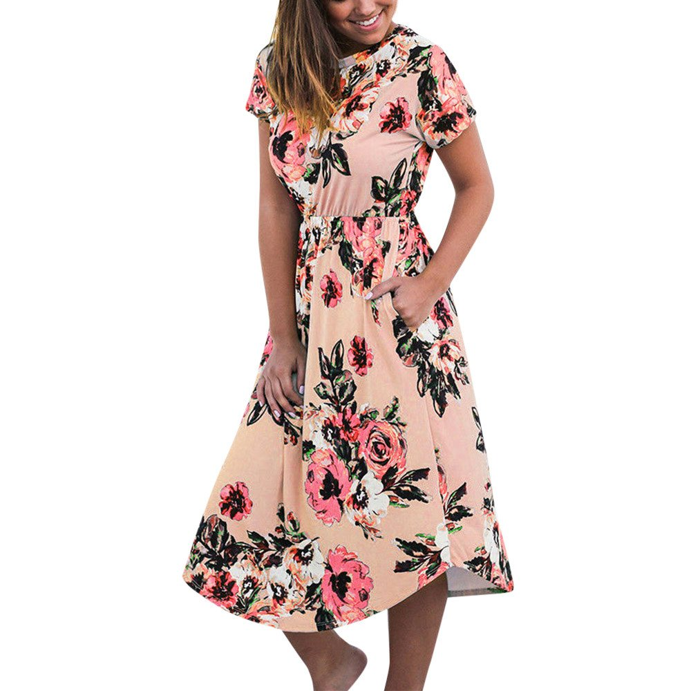 JUSTSELL_Clothing Beach Dress for Women Summer,♔JUSTSELL♔ 2019 Women Casual Floral Print Short Sleeve Loose Fit Beach Maxi Dress