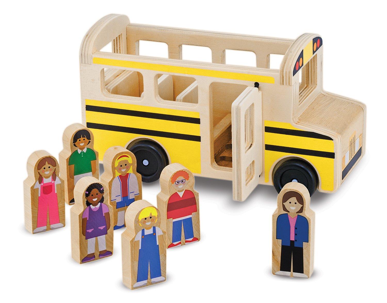 Melissa & Doug School Bus Wooden Play Set With 7 Play Figures