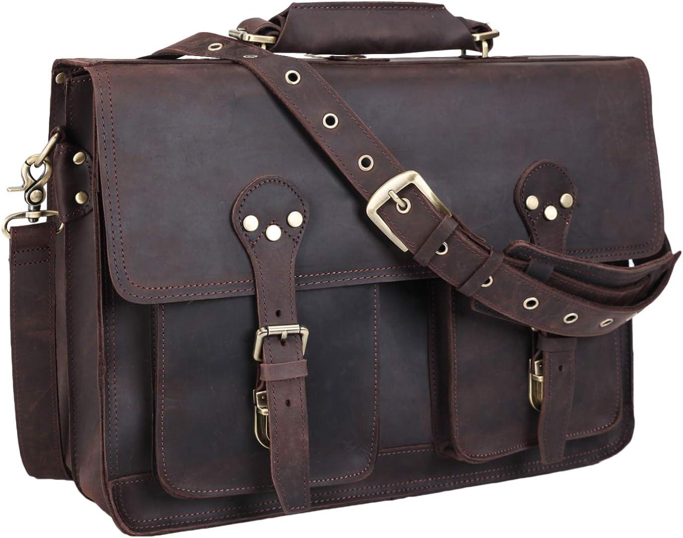Texbo Men s 16 Inch Genuine Leather Satchel Laptop Briefcase Messenger Bag Tote