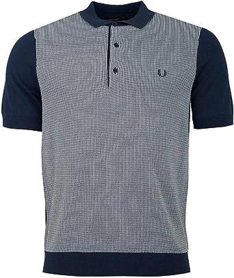 Fred Perry Hombres Camisa de Punto Bicolor k5512 e97 Marina De ...