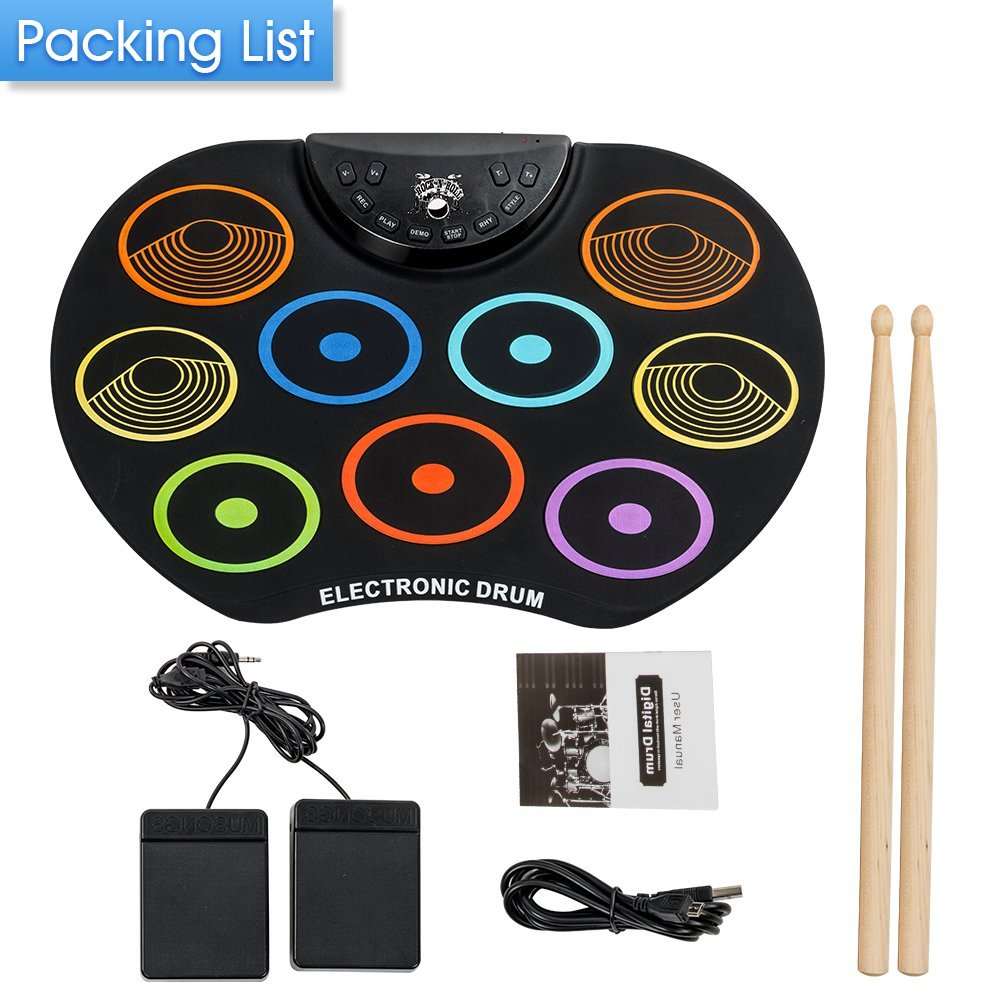 Irokimusic Flexible, Completely Portable Electronic Drum Set, Roll Up Drum Practice Pad with Headphone Jack without Speaker Drum Pedals 12 Hours Playtime, Great Holiday Birthday Gift for Kids