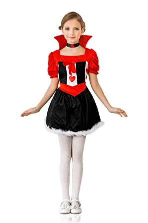 kids girls queen of hearts halloween costume wonderland dress up role play 3