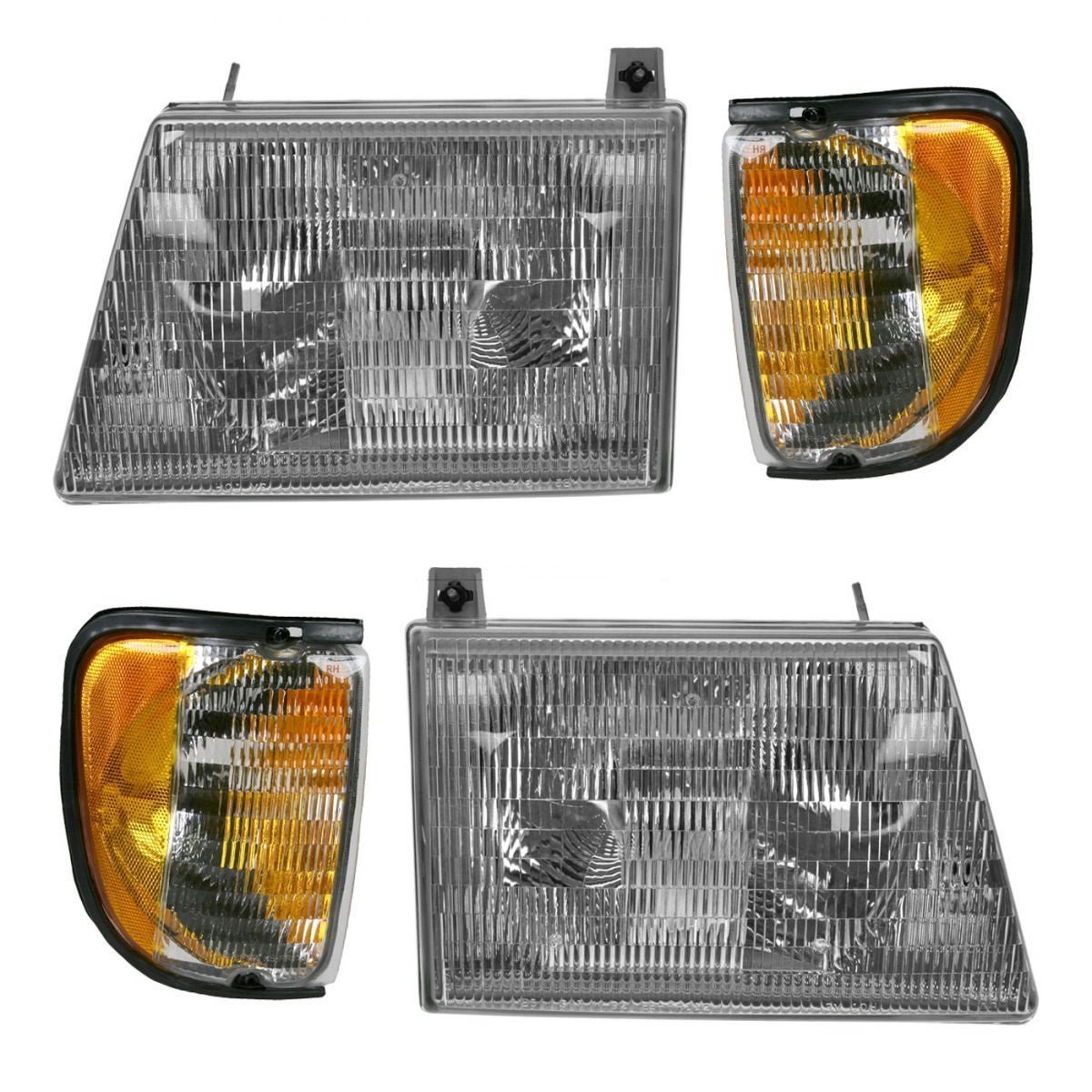 Fleetwood Pace Arrow 1997-2000 RV Motorhome 4 Piece Set Left /& Right Replacement Front Headlights /& Signal Lights
