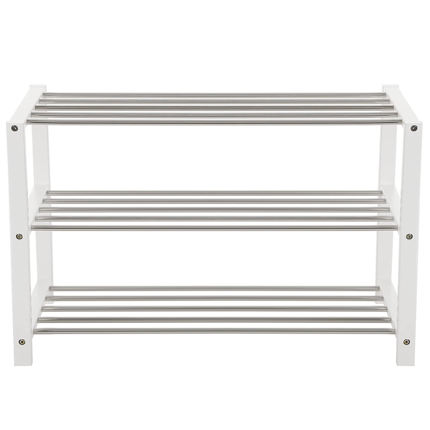 SONGMICS Shoe Rack Shoe Storage Shelf Organiser 3-Tier Bamboo Side Frame White 80 x 30 x 50 cm LBS03W