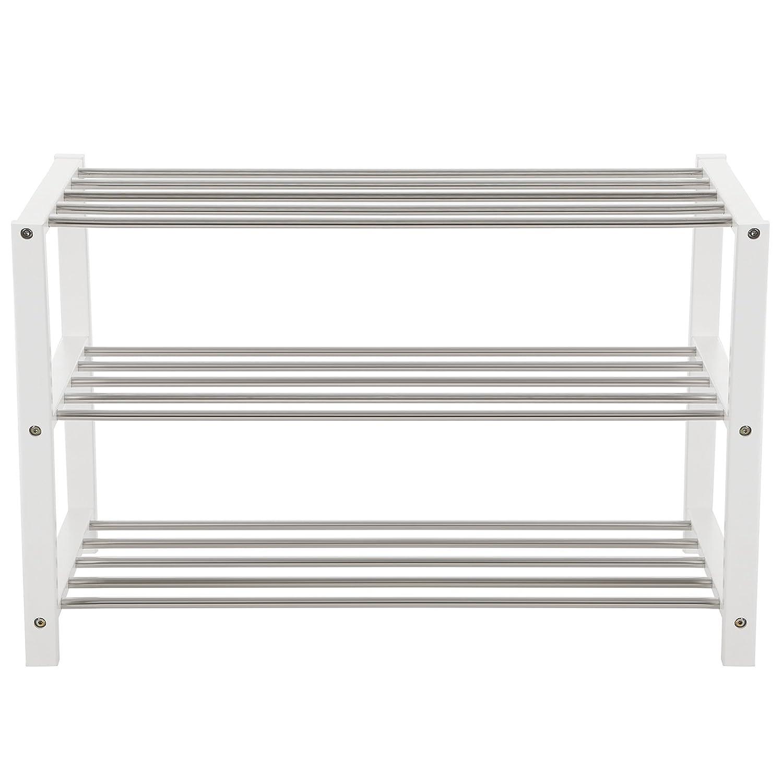 SONGMICS Shoe Rack Shoe Storage Shelf Organiser 3-Tier Bamboo Side Frame White 80 x 30 x 50 cm LBS03W