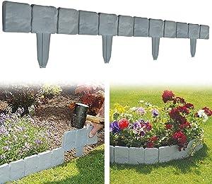 HOUZHI Stone Effect Plastic Palisade Fence, Home Garden Border Edging, Garden Border Edging Stones Effect Fence in Lawn Edging, for Garden,Lawn,Walkway and Landscape Edging (20 pcs, Gray)